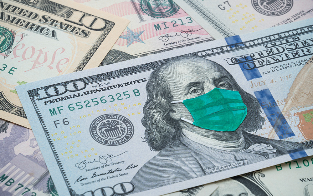 100 dollar bill with face mask