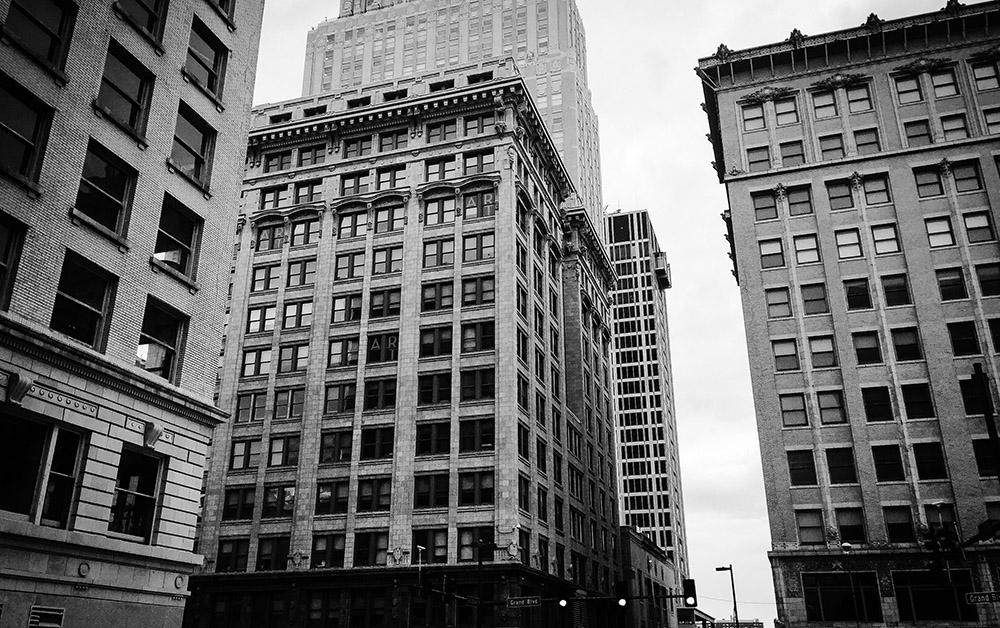 Black and white image of downtown buildings